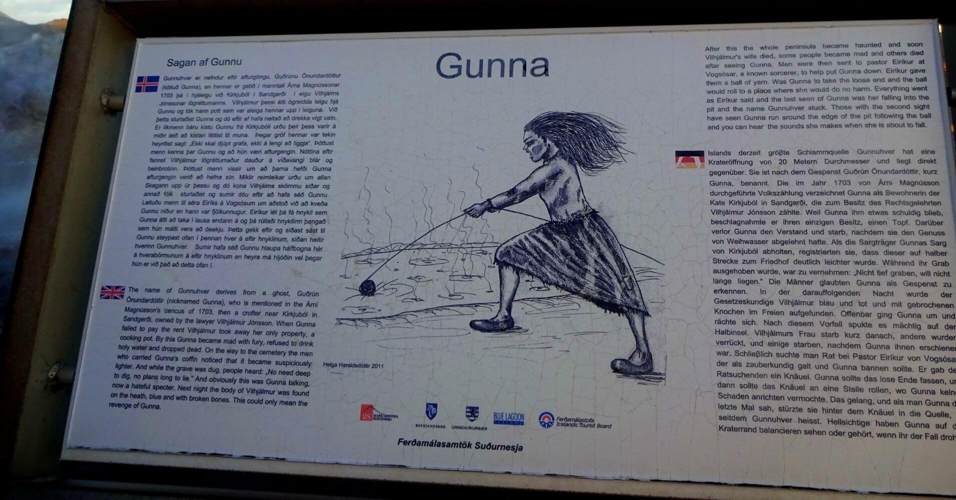 Área Geotermal de Gunnuhver. Leyenda de Gunna. Islandia.