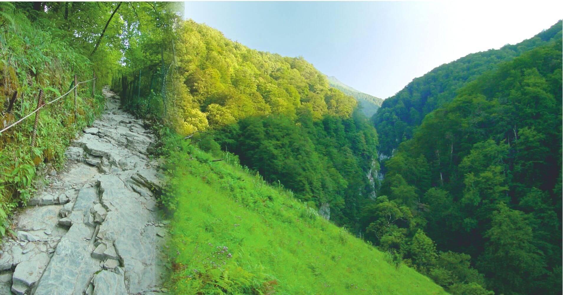 Camino a las Gorges de Holtzarte. Larrau, Pirineos Atlánticos. Nueva Aquitania. Francia.