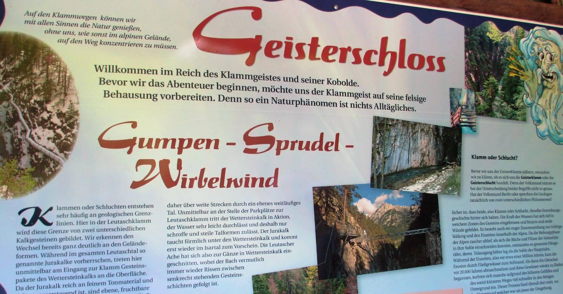 Cartel de Información. Garganta Leutaschklamm. Schanz, Leutasch. Región del Tirol. Austria.