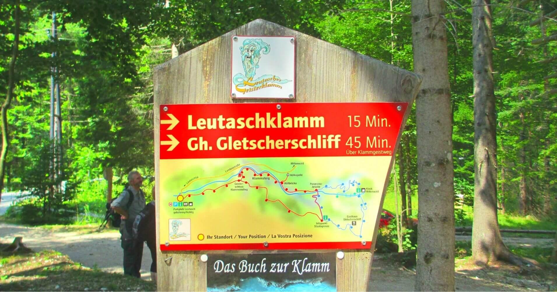 Cartel Informativo. Garganta Leutaschklamm. Schanz, Leutasch. Región del Tirol. Austria.