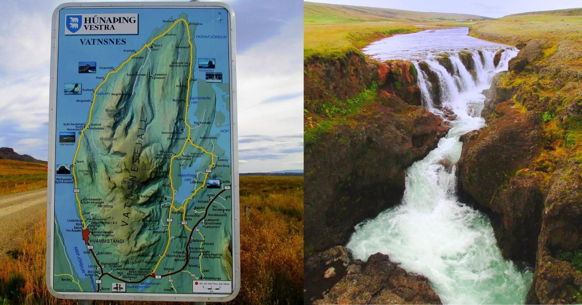 Cartel Península de Vatnsnes. Hvammstangi. Norðurland Vestra. Islandia.