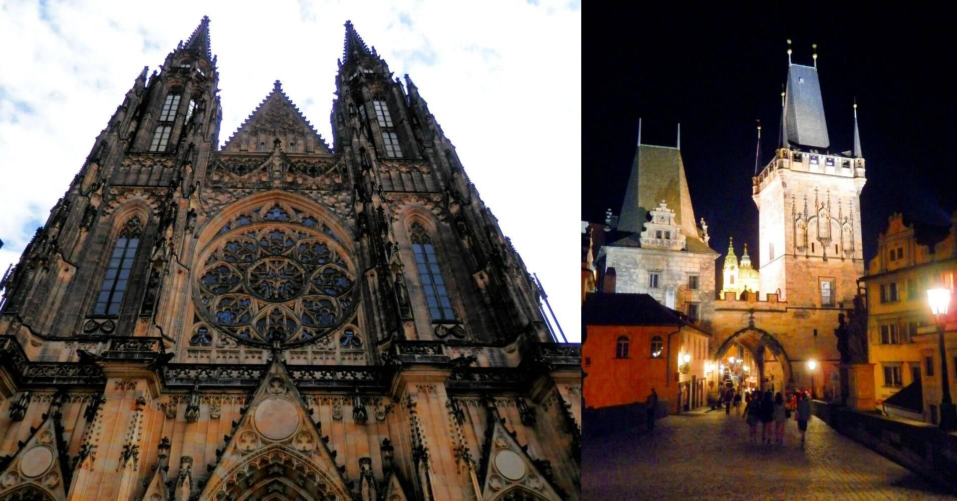 Catedral de Praga y Torre Puente Carlos. Praga, República Checa.