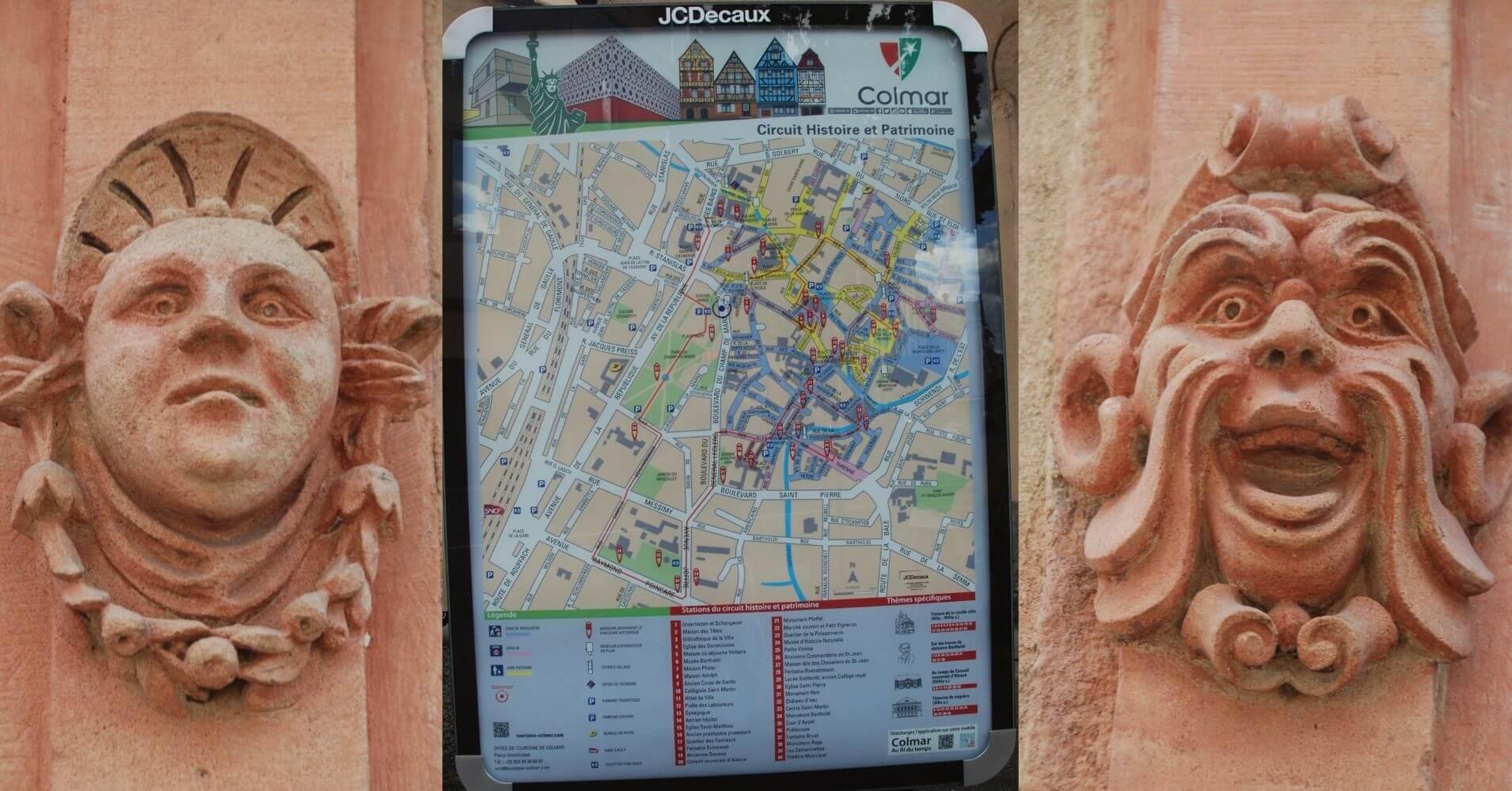 Detalles de la Villa y Plano, Alto Rin. Alsacia. Gran Este. Francia.