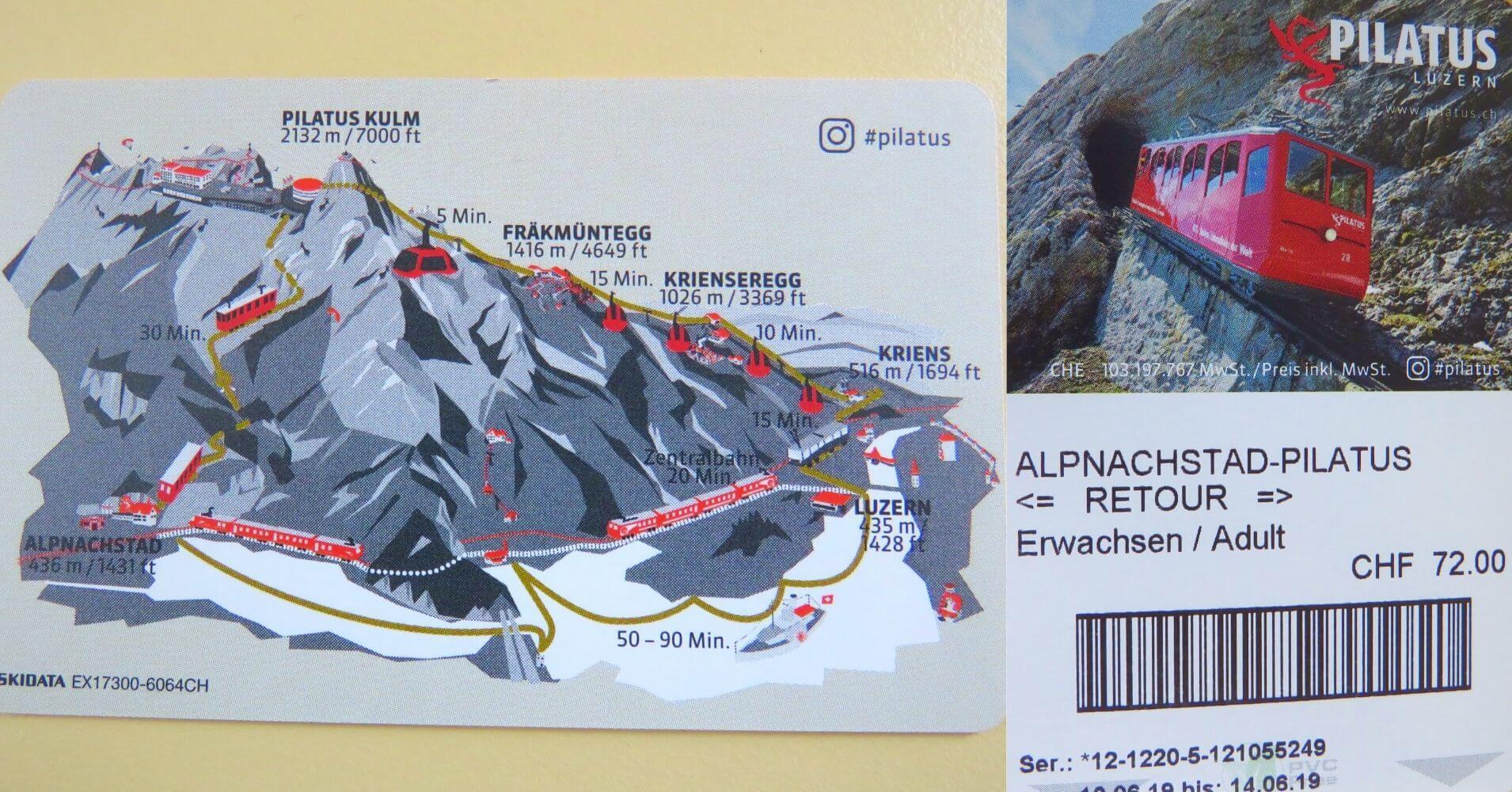 Entradas del Tren de Cremallera Monte Pilatus. Suiza.