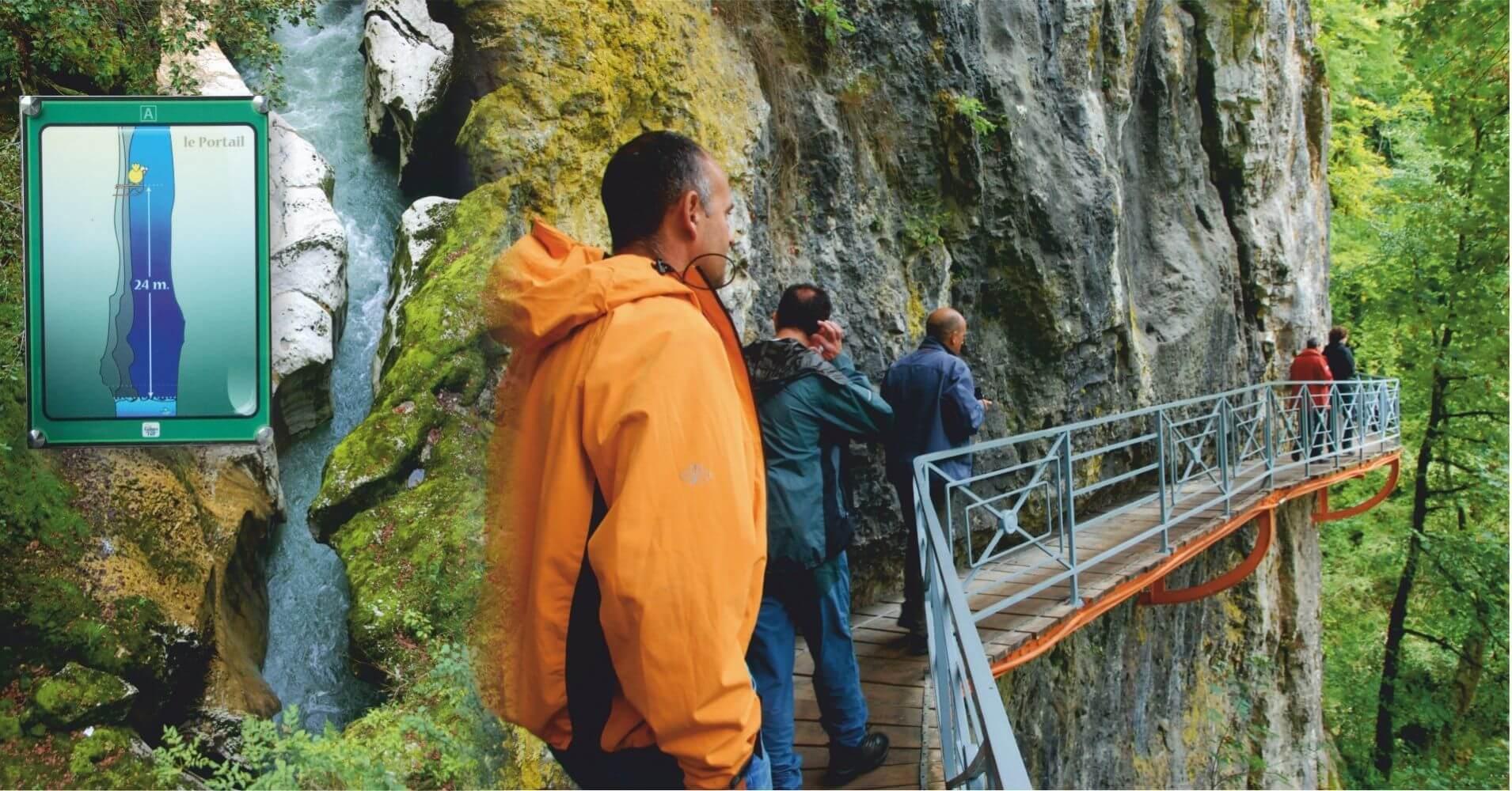 Escala de Inundaciones en Gorges du Fier. Lovagni, Alta Saboya. Auvernia-Ródano-Alpes. Francia.