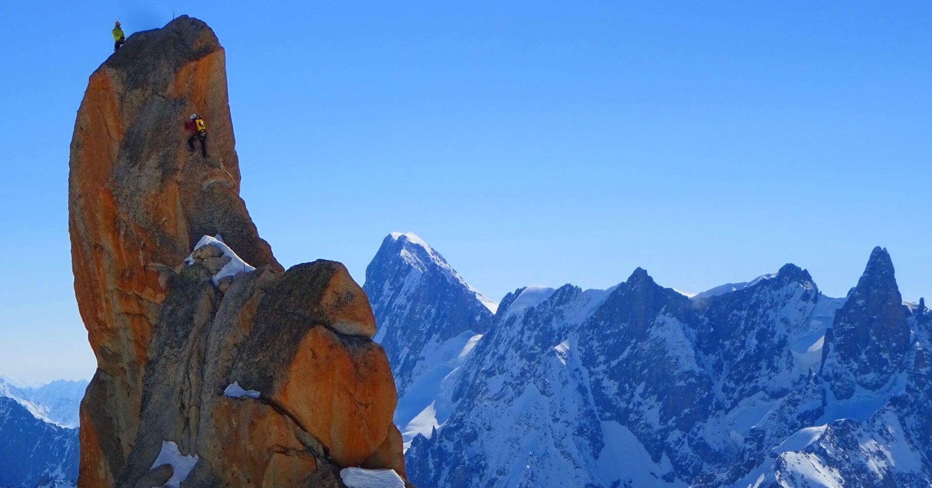 Escalando en Aguille du Midí. Chamonix, Alta Saboya. Auvernia-Ródano-Alpes. Francia.