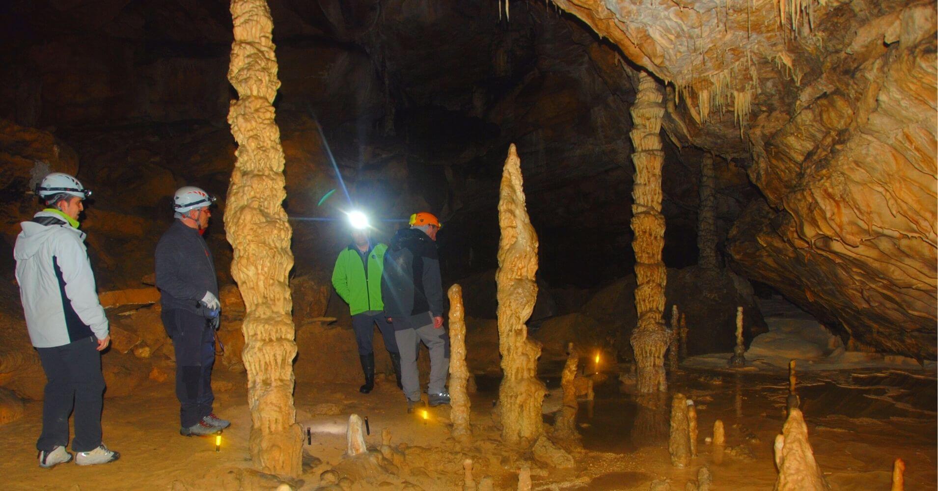 Estalagmitas en la Sala Museo de Cera. Complejo Kárstico de Ojo Guareña. Las Merindades, Burgos.