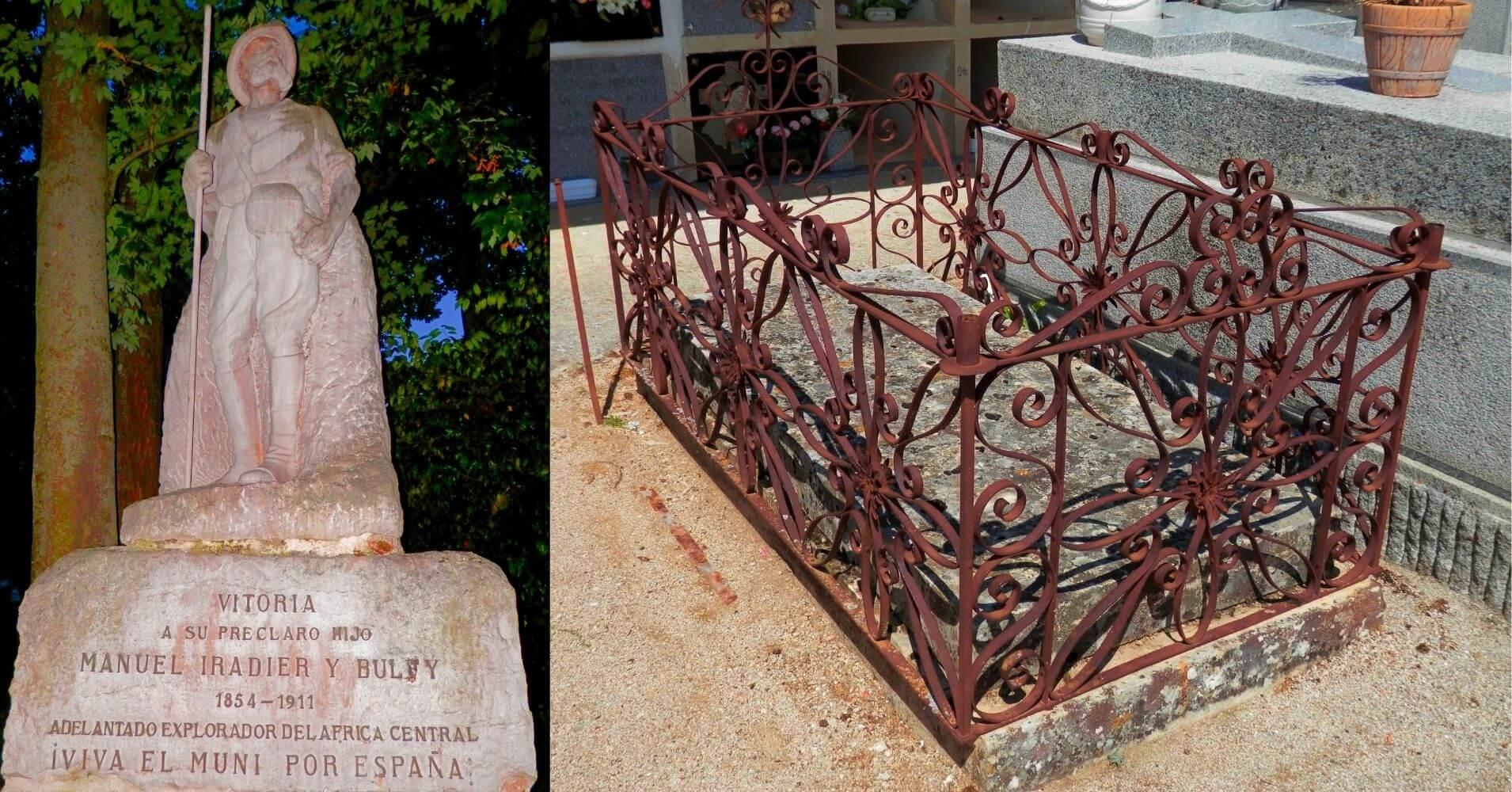 Estatua a Manuel Iradier y Bulfi en Paseo Florida de Vitoria-Gasteiz y Cementerio de Valsaín. Segovia. Castilla y León.