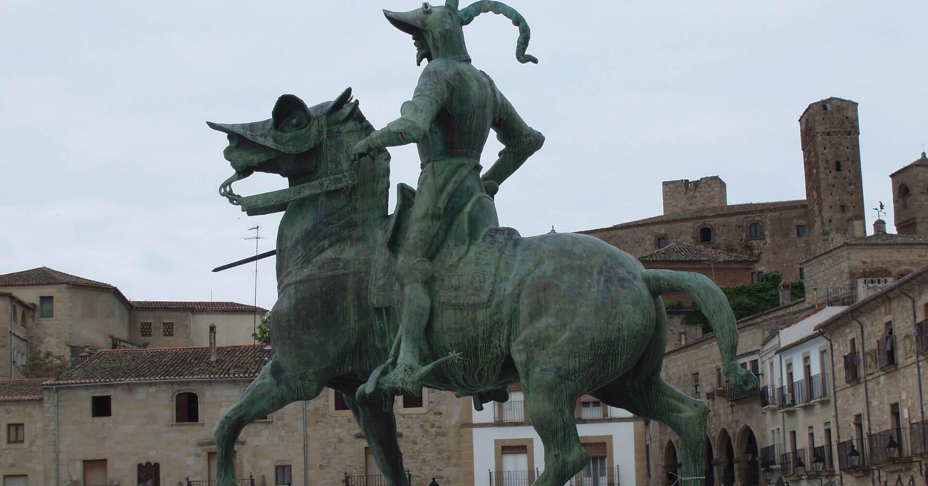Estatua de Pizarro. Plaza Mayor de Trujillo, Cáceres.
