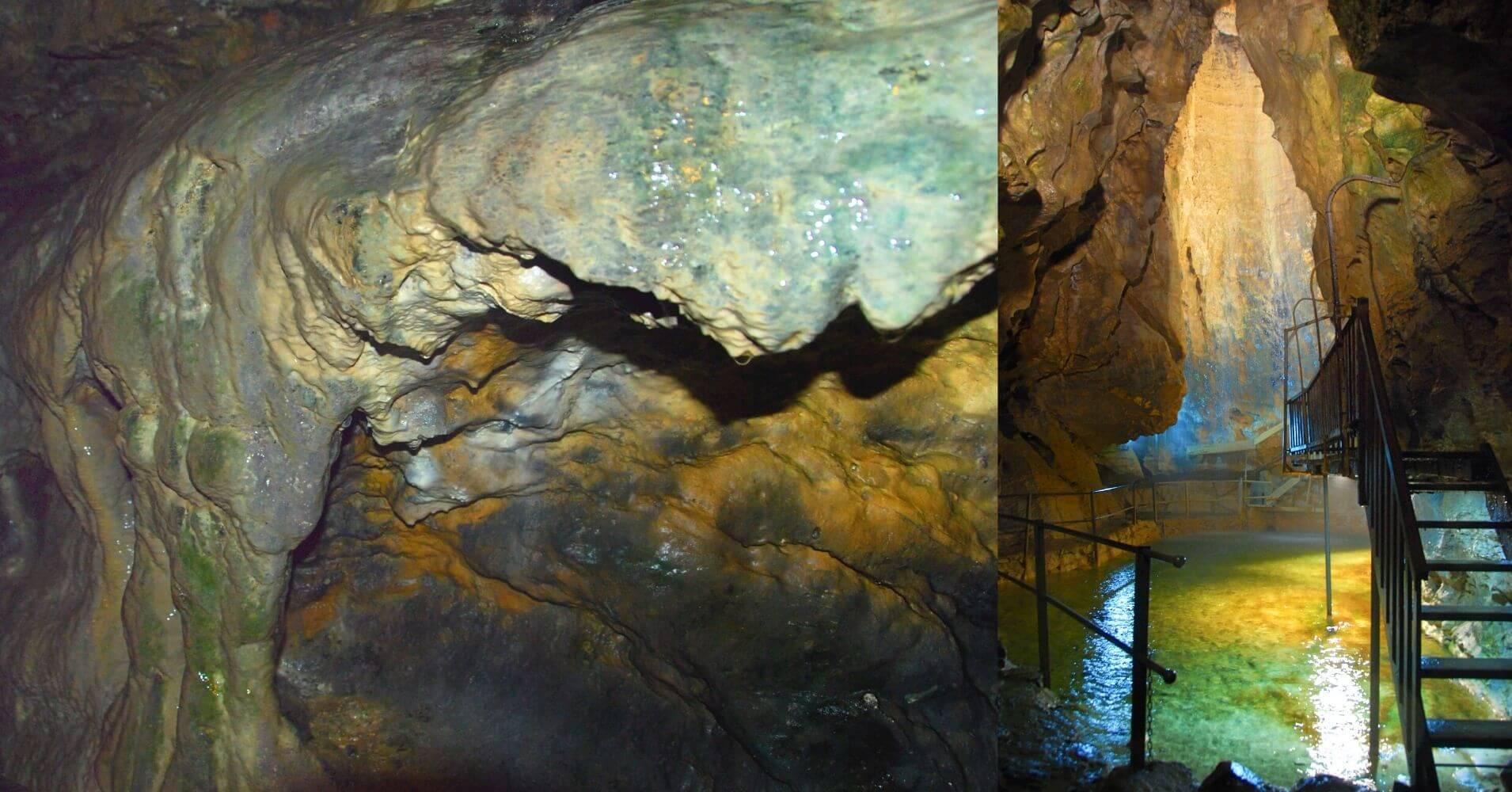 Formaciones y Lago de la Cueva de las Hadas. St. Maurice. Valais, Suiza.