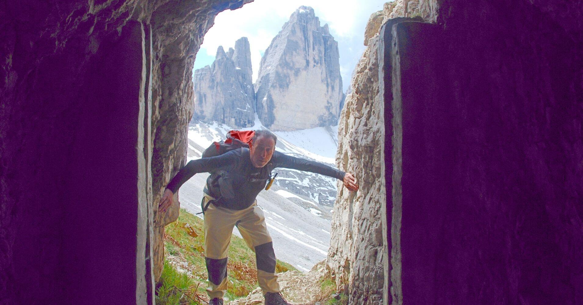 Galería del Monte Paterno. Tres Cimas de Lavaredo. Alpes Dolomitas. Belluno, Véneto. Italia.