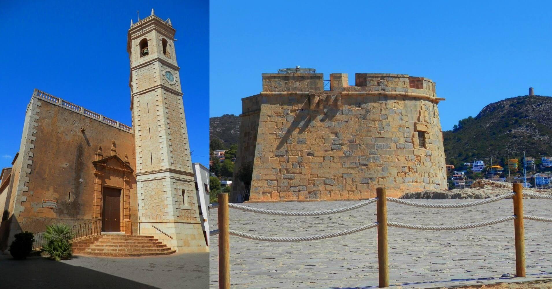 Iglesia Santa Catalina, Platja de L' Ampolla. Castillo, Moraira. Alicante. Comunidad Valenciana.