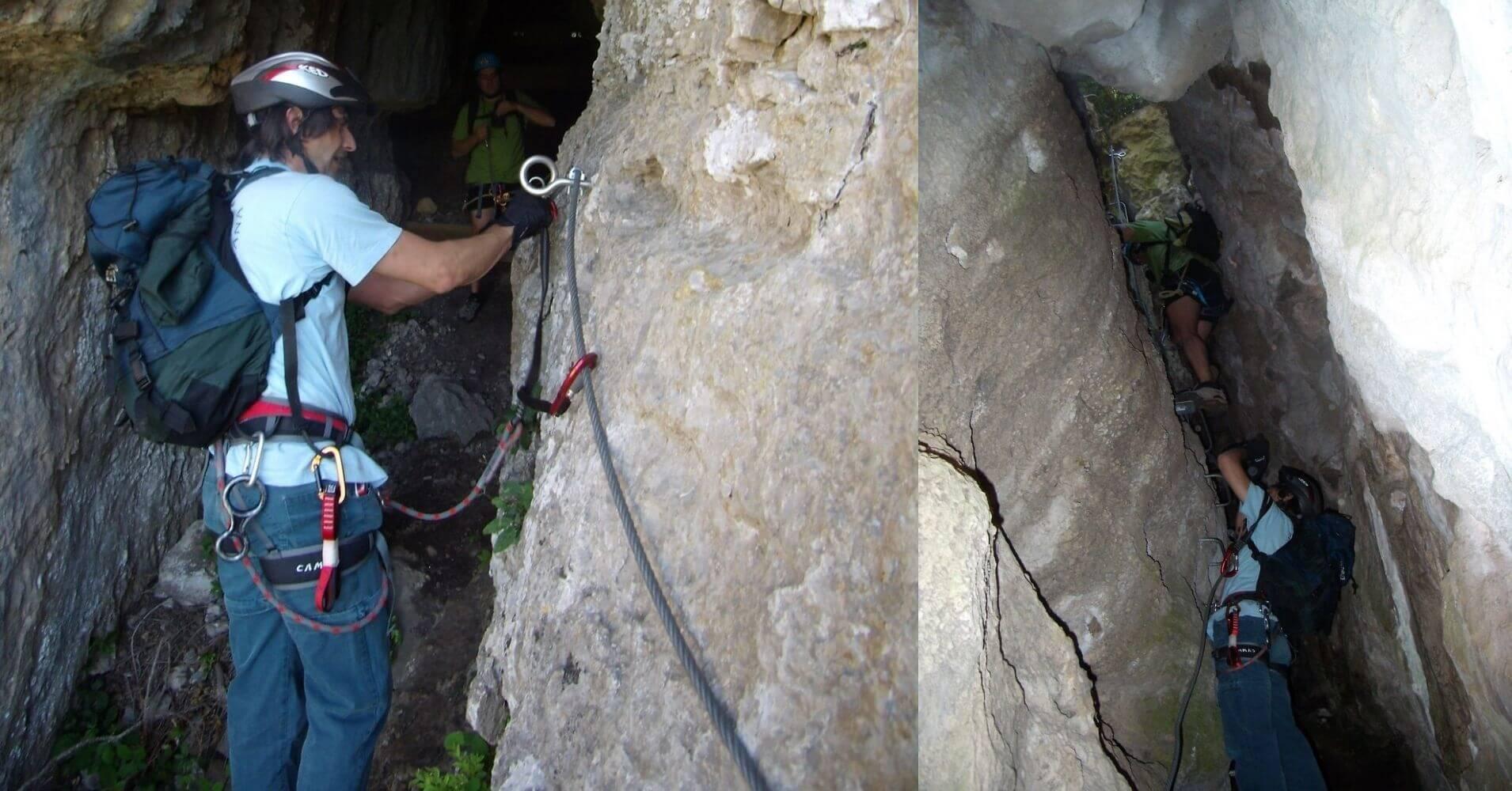 Inicio de la Cueva Ferrata Liaucous. Aveyron, Occitania. Francia.