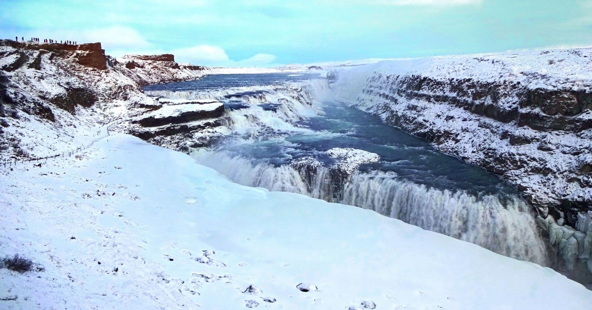 La Cascada de Gullfoss. Islandia en Invierno.