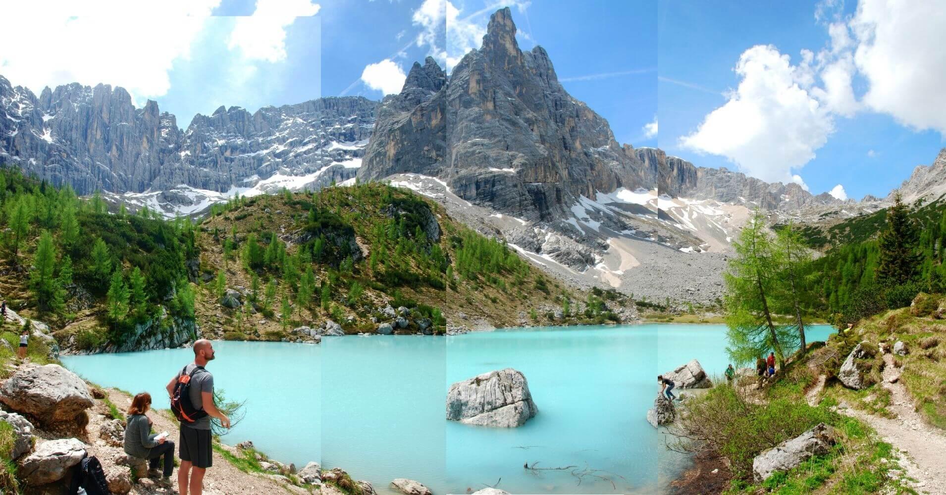 Lago di Sorapis en Cortina d' Ampezzo. Dolomitas, Belluno. Véneto. Italia.