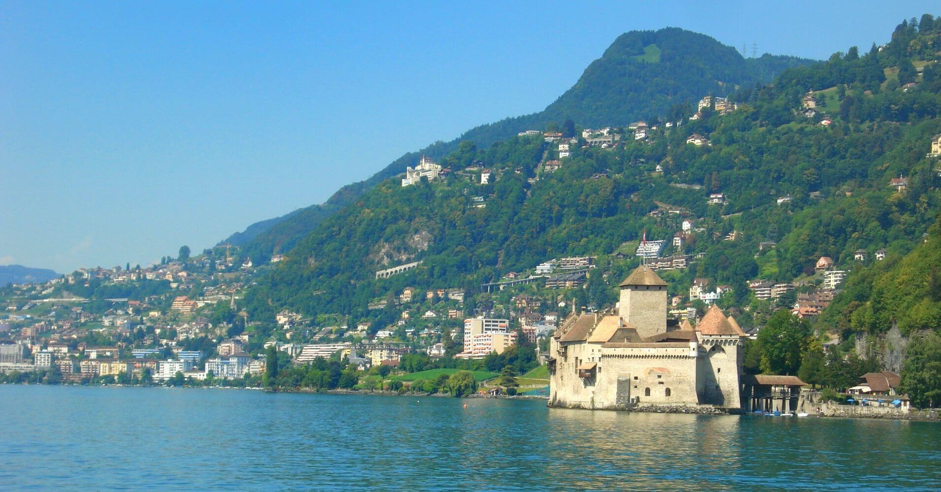 Lago Lemán. Chateau de chillon, Veyteaux. Vadud. Suiza.