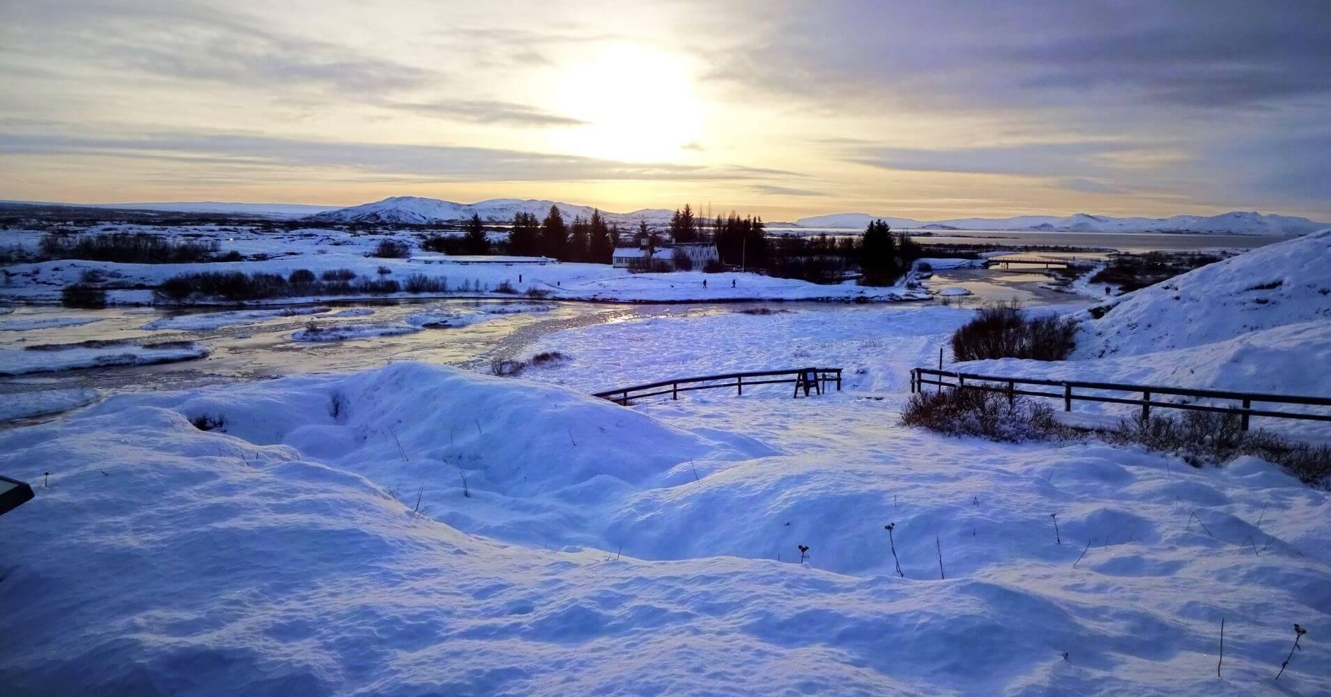 Los Paisajes islandeses invernales.