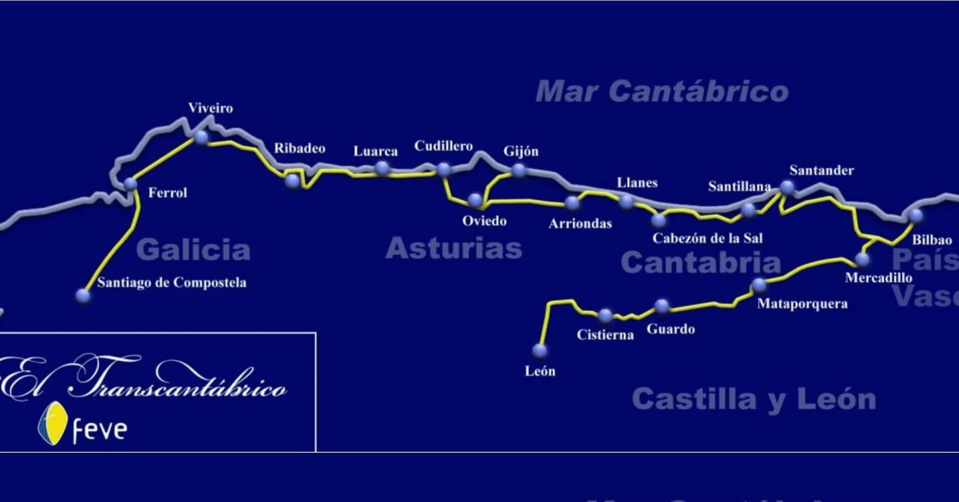Mapa del viaje de El Transcantábrico. Tren Turístico de Lujo del Norte de España.