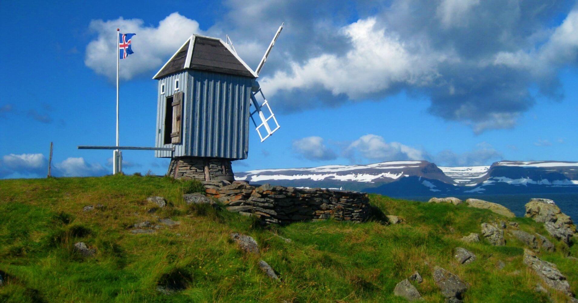 Molino de viento. Isla de Vigur. Ísafjörður. Vestfirðir en Islandia.