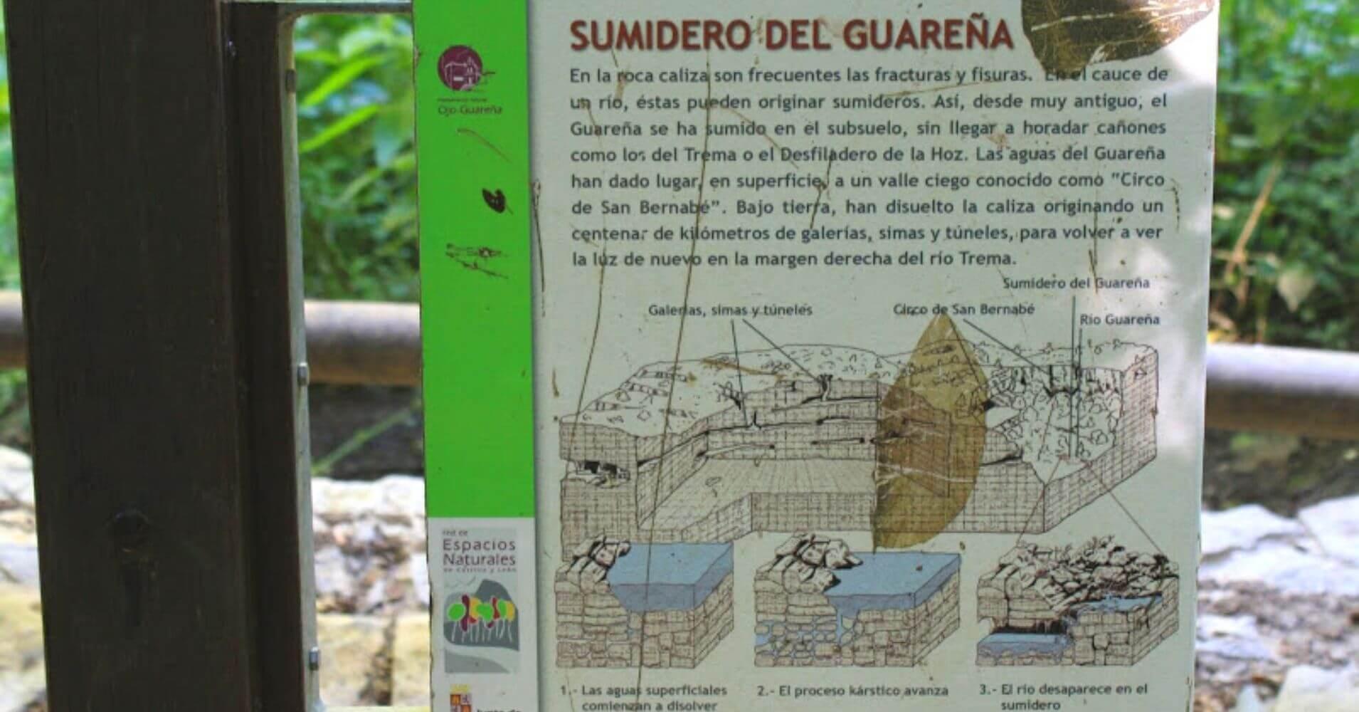 Panel Informativo del Sumidero de Ojo Guareña. Las Merindades. Burgos, Castilla y León.