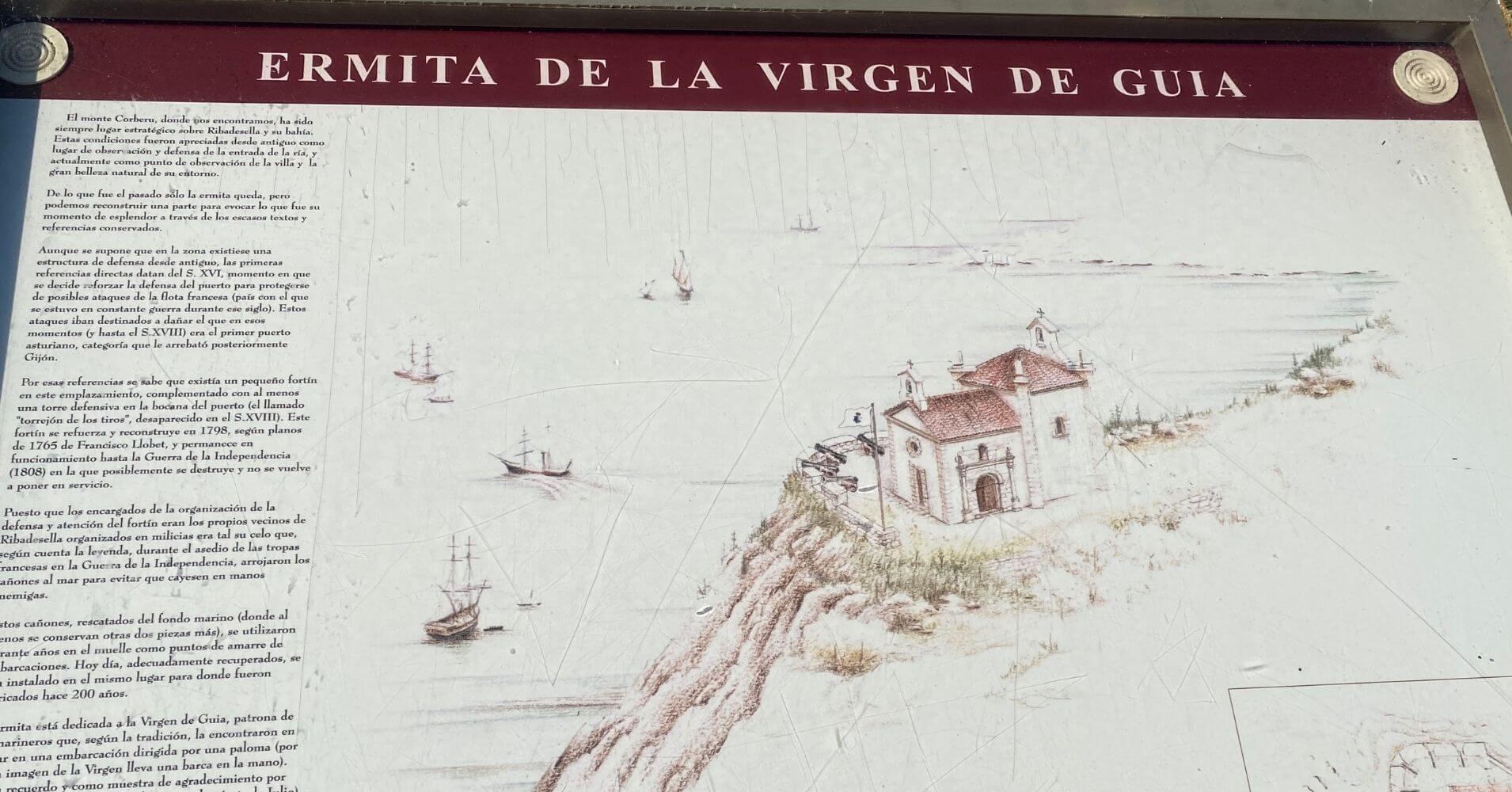 Panel Informativo Ermita de la Virgen de la Guía. Ribadesllla, Asturias.