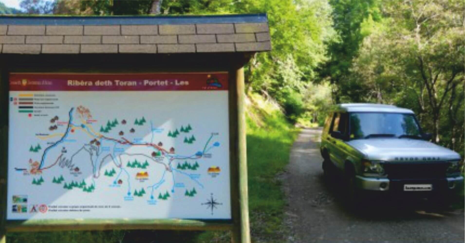 Panel Informativo Ruta 4X4 Valle de Toran. San Joan de Toran. Lérida. Cataluña.