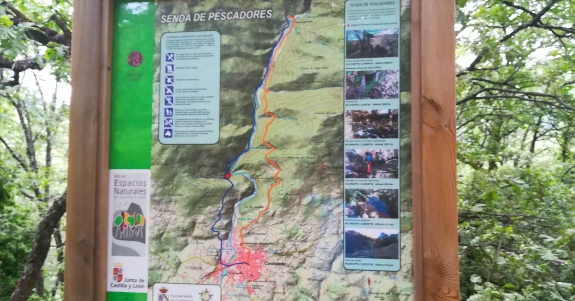 Panel Informativo Senda de Pescadores SL-AV 3. Candeleda, Castilla y León.