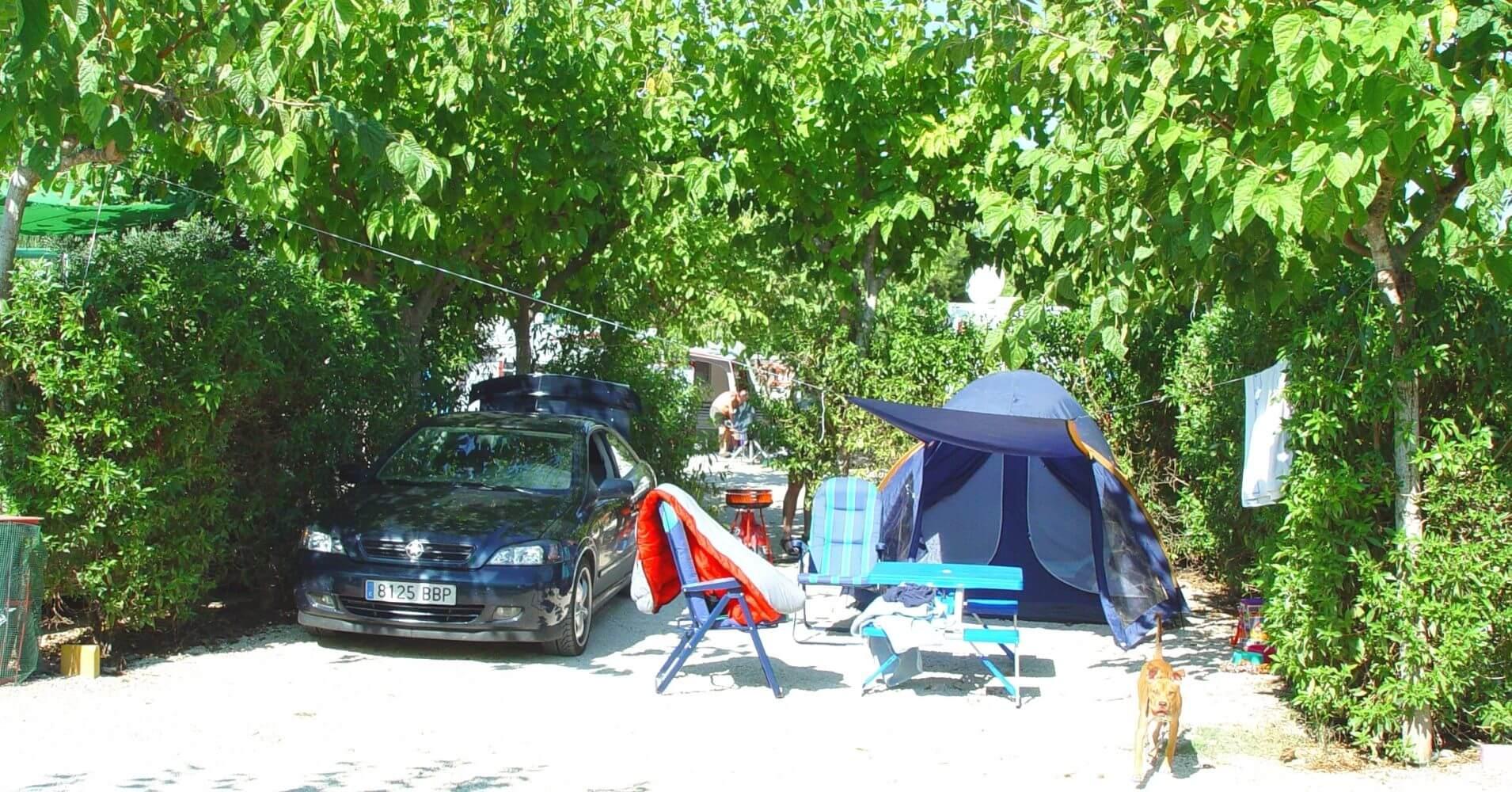 Parcelas del Camping La Marina Resort. La Marina, Elche. Alicante, Comunidad Valenciana. España.