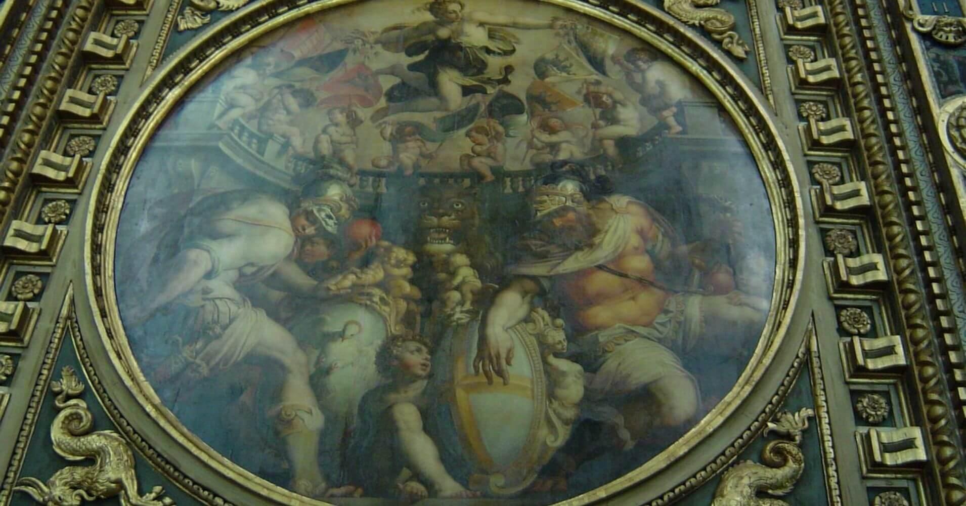 Pintura de Vasari, Palacio Vecchio. Toscana. Italia.