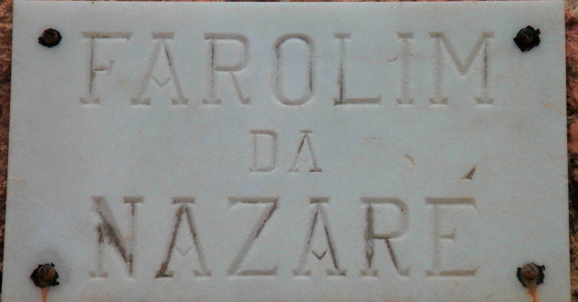 Placa del Faro de Nazaré. Portugal.