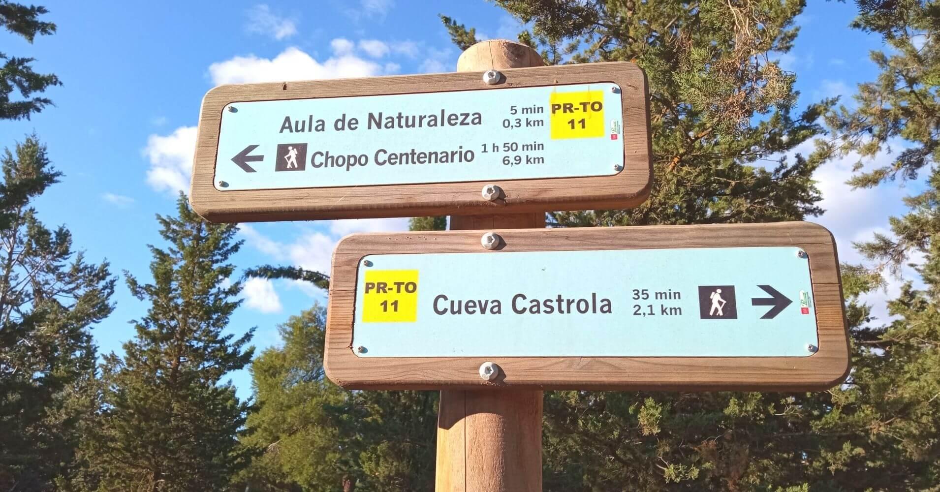 Poste de Direcciones del Pr-To 11 Senda del Lince. Madridejos, Toledo. Castilla La Mancha.