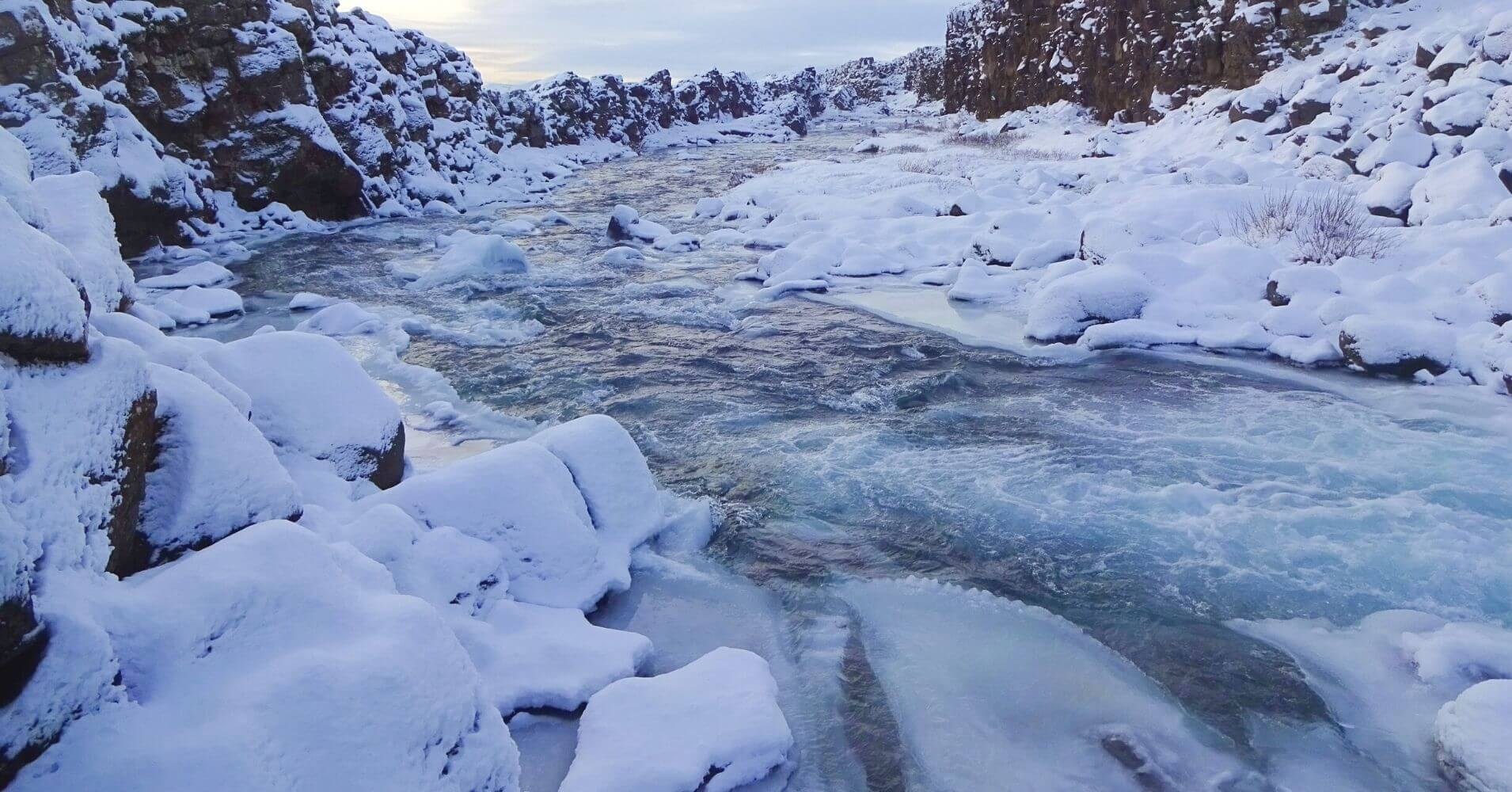 Río Hvitá en la Cascada de Gullfoss. Islandia.