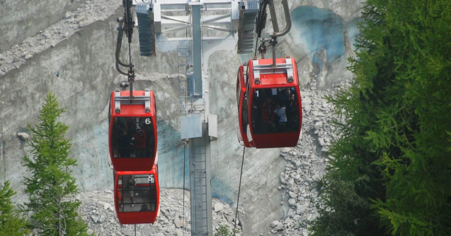 Teleférico de la Cueva del Mer de Glace. Chamonix, Alta Saboya. Auvernia-Ródano-Alpes. Francia.
