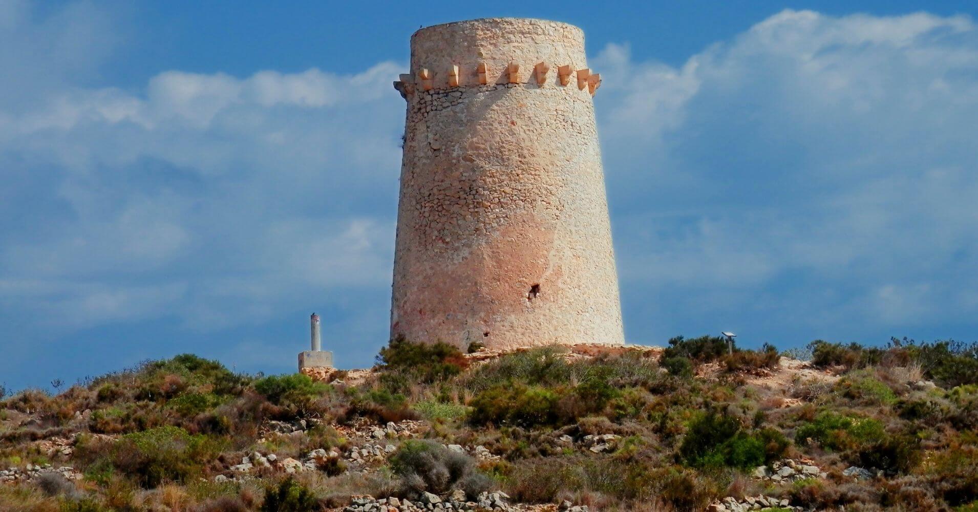 Torreon de Cap d' Or a Vuelo de Gaviota. Moraira, Alicante. Comunidad Valenciana.