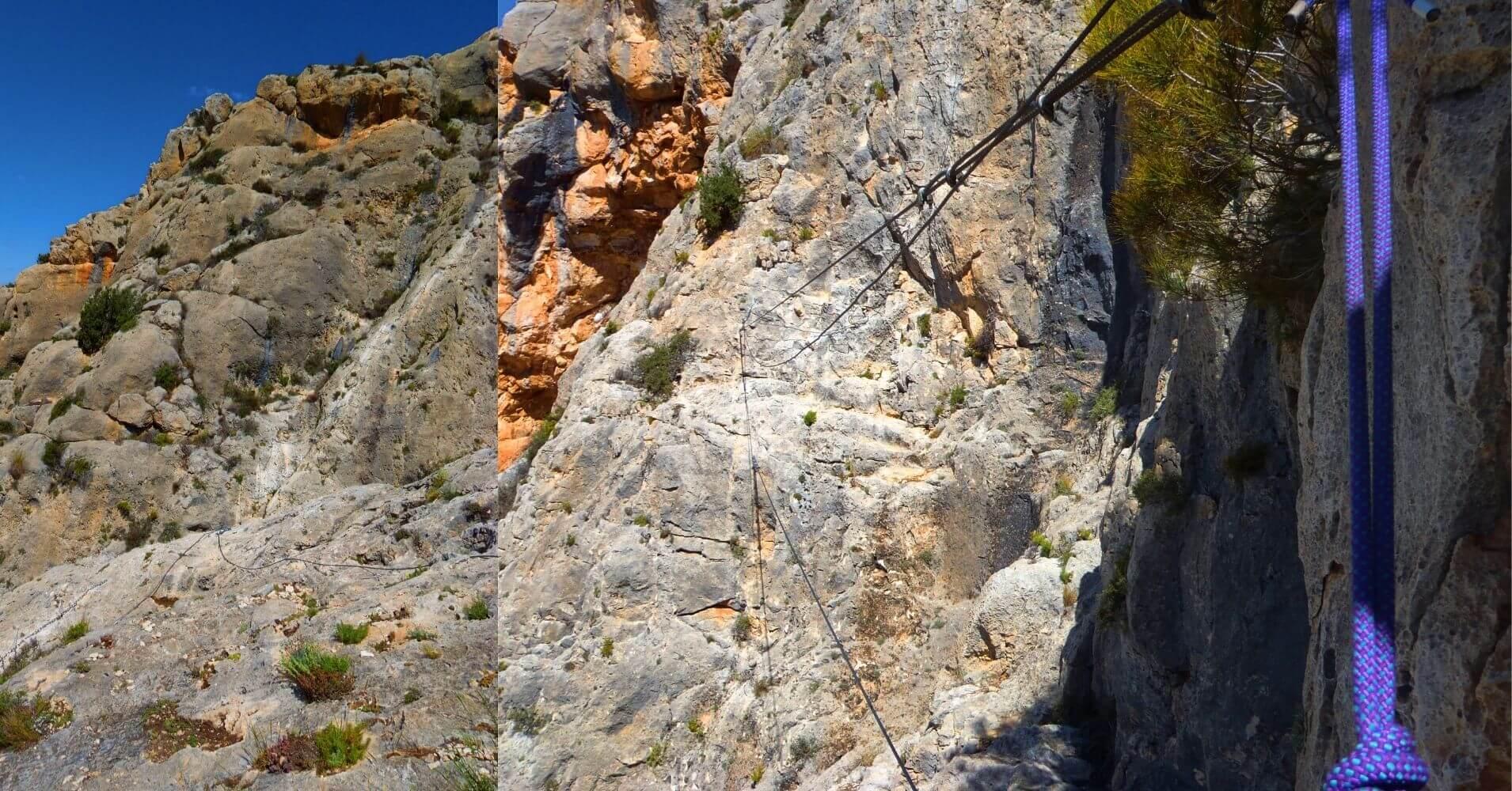 Vía Ferrata Sierra de la Villa. Tibetanos y Verticales. Villena, Alicante.