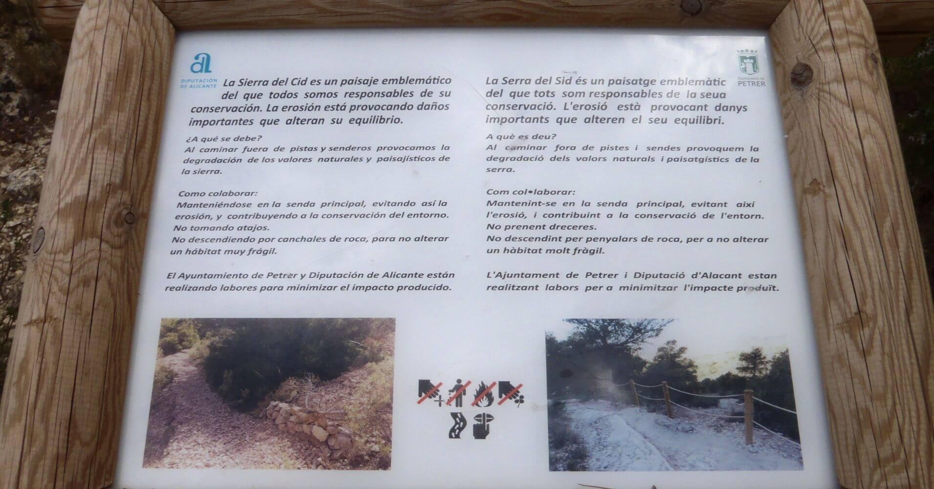 Cartel Información en vía ferrata. Petrer, Alicante. Comunidad Valenciana.