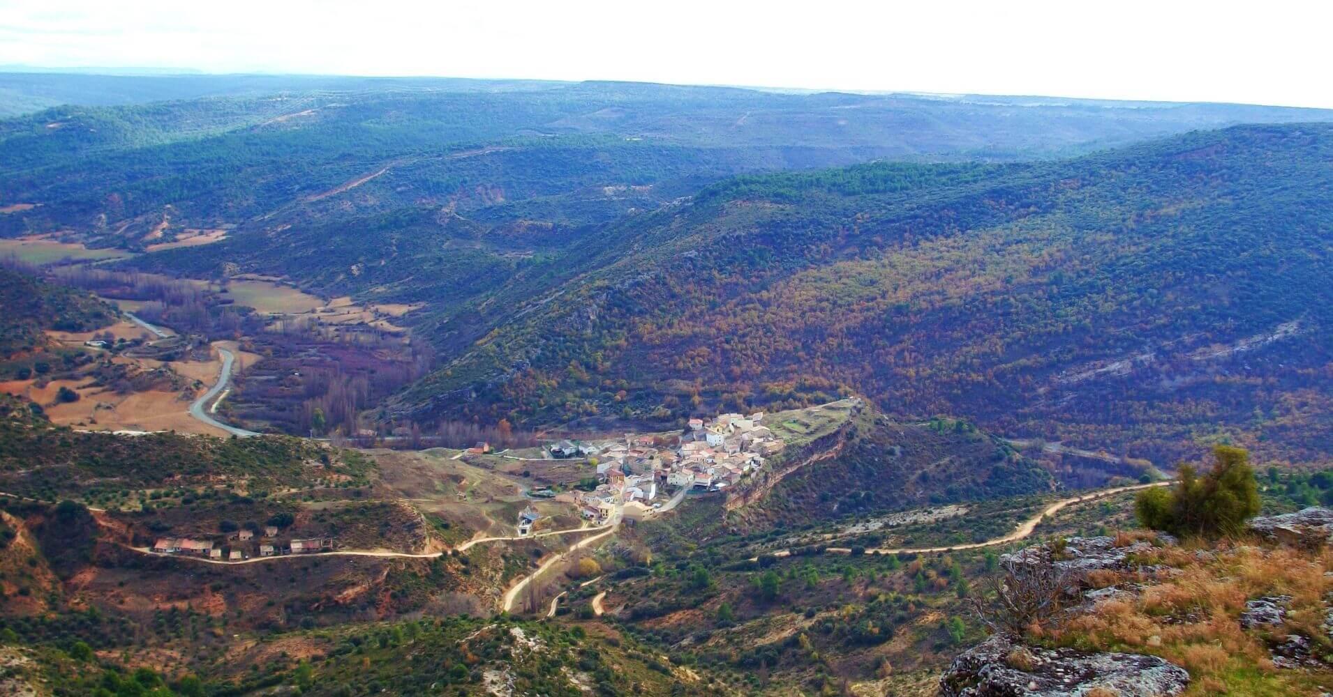 Vista de la localidad desde la Cumbre. Guadalajara. Castilla la Mancha.